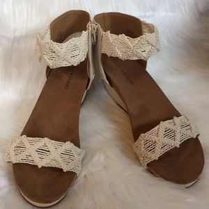 NWOT Lucky Brand Woven Ankle Strap Wedges